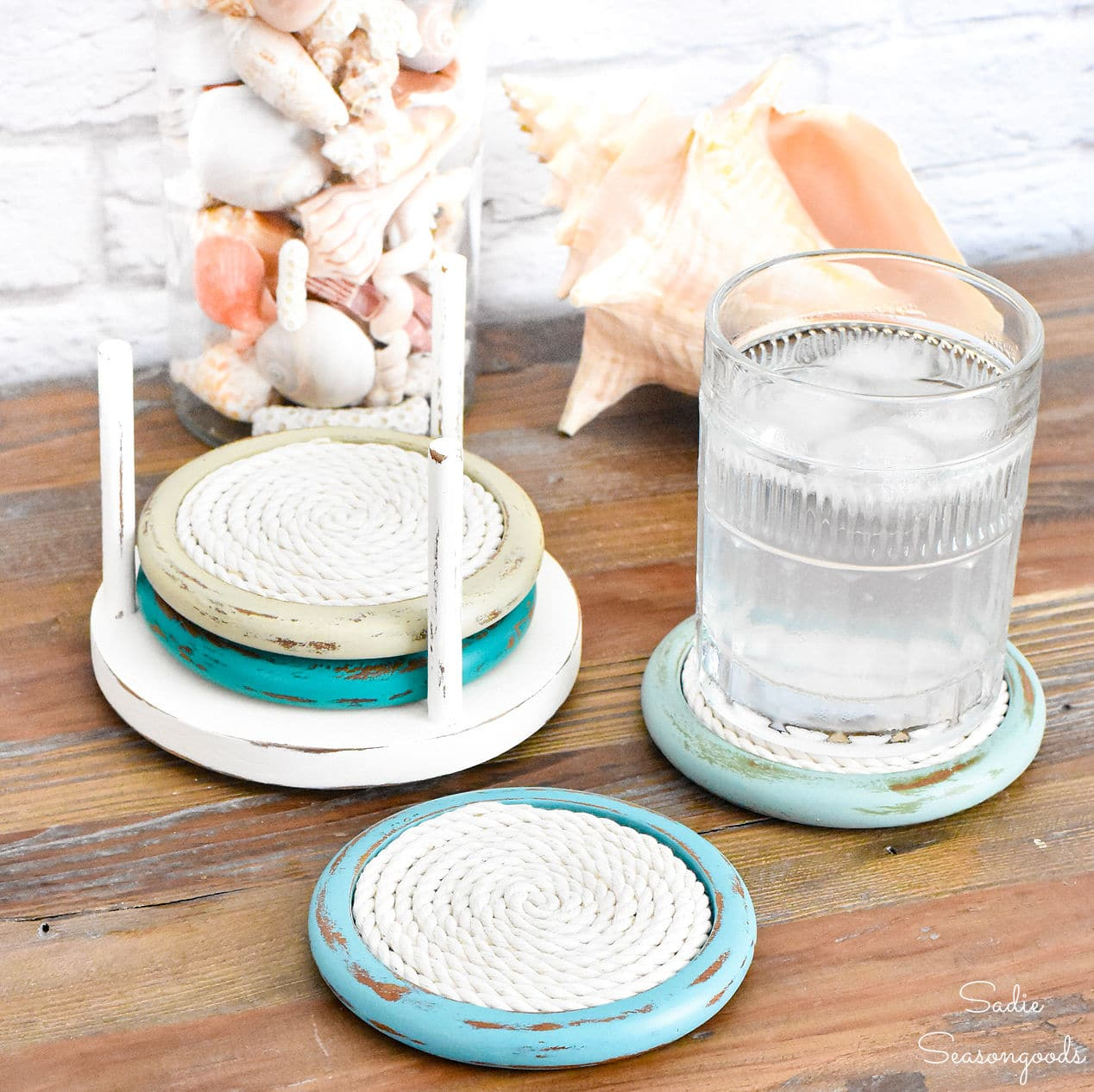 Coastal coasters by Sadie Seasongoods, featured on New Upcycled Projects to Make 591!