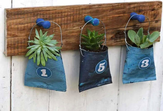 crushed pop can hanging planters Pillar Box Blue.16 AM