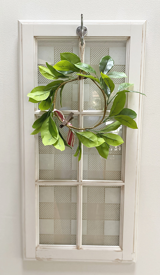 Stenciled pattern window wreath hanger by Homeroad, featured on New Upcycled Projects to Make 589 on Funky Junk!
