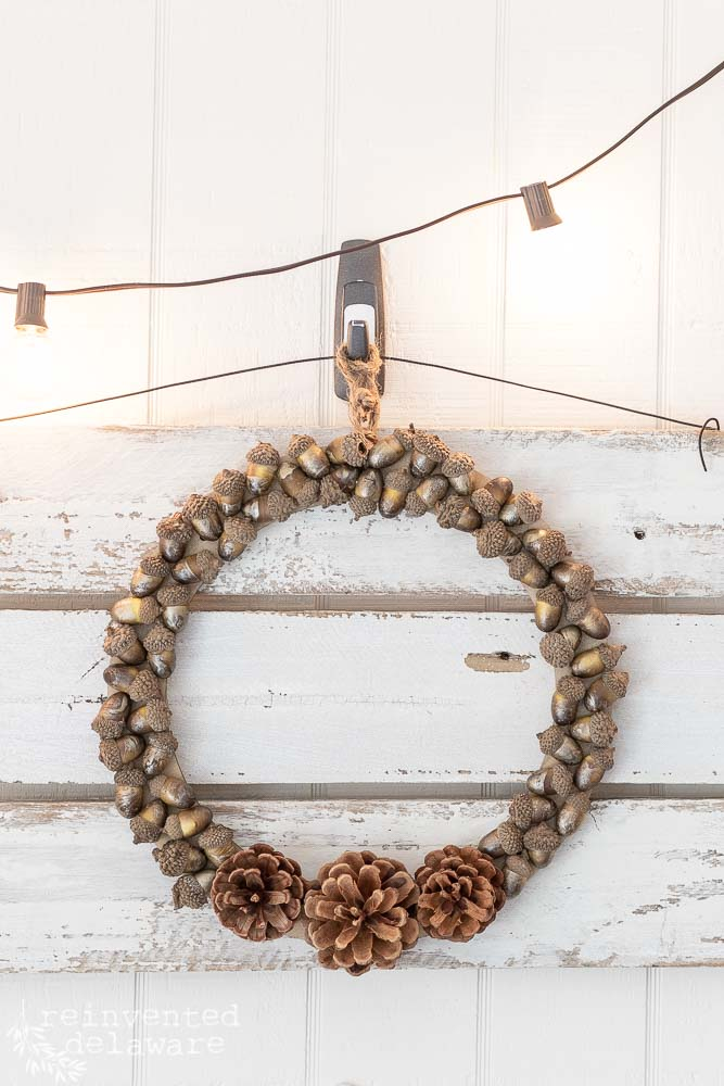 Pinecone and acorn fall wreath by Reinvented Delaware