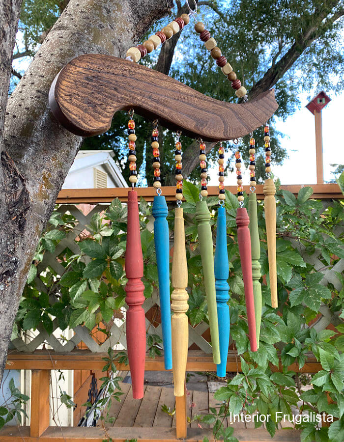 Antique chair spindle wind chime by Interior Frugalista, featured on New Upcycled Projects to Make 596