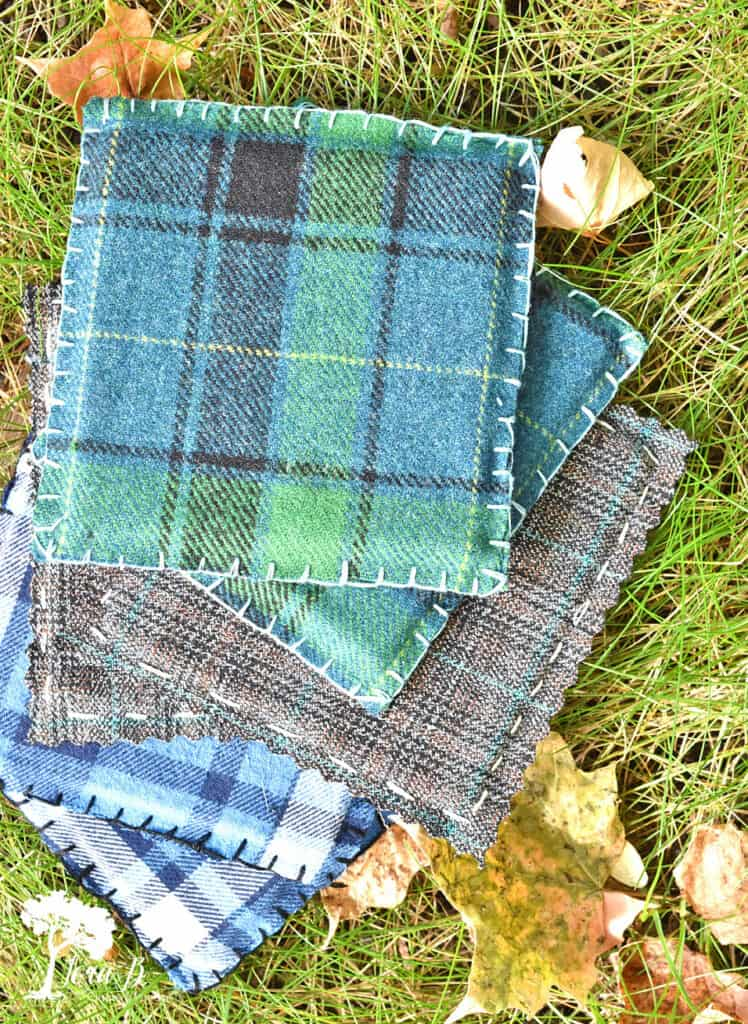 Plaid flannel coasters by Lora B, featured on New Upcycled Projects to Make 595