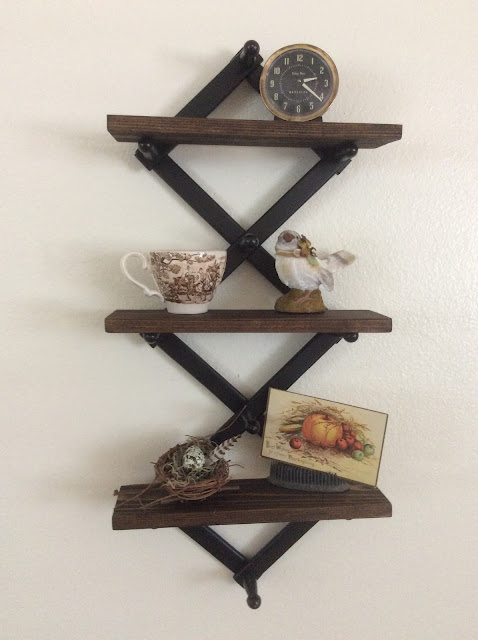 Expandable coat rack turned shelves by Fresh Vintage by Lisa S, featured on New Upcycled Projects to Make 595