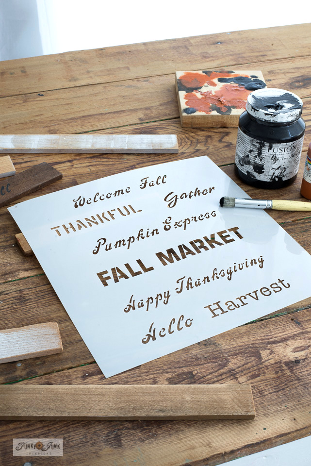 Learn how to make mini fall signs with Fall Greetings - small stencil and cedar strips!