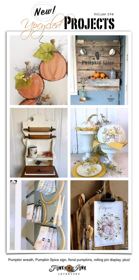 Visit 20+ New Upcycled Projects To Make 594 - Pumpkin wreath, Pumpkin Spice sign, floral pumpkins, rolling pin display, plus! Includes repurposed tutorials plus a link party!