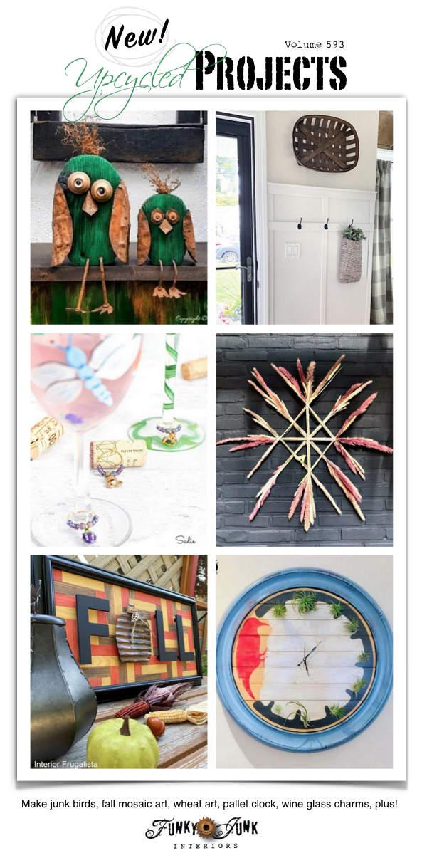 Visite mais de 20 novos projetos Upcycled para fazer 593 - Faça pássaros inúteis, arte em mosaico de outono, arte em trigo, relógio de palete, amuletos de taça de vinho e mais!  Projetos adaptados com tutoriais completos e um link para cima!