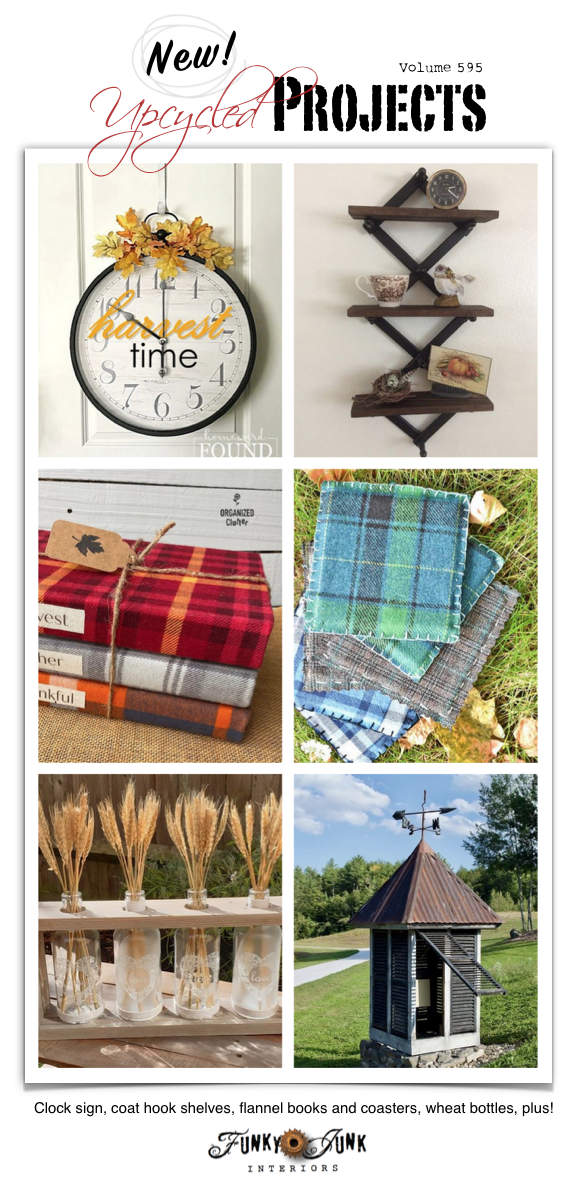 Visit 20+ New Upcycled Projects to Make 595 - Clock sign, coat hook shelves, flannel books and coasters, wheat bottles, plus!