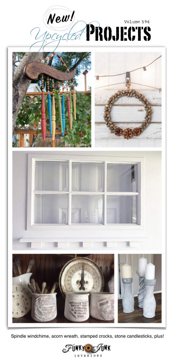 Visit 20+ New Upcycled Projects to Make 596 - Spindle windchime, acorn wreath, stamped crocks, stone candlesticks, plus!