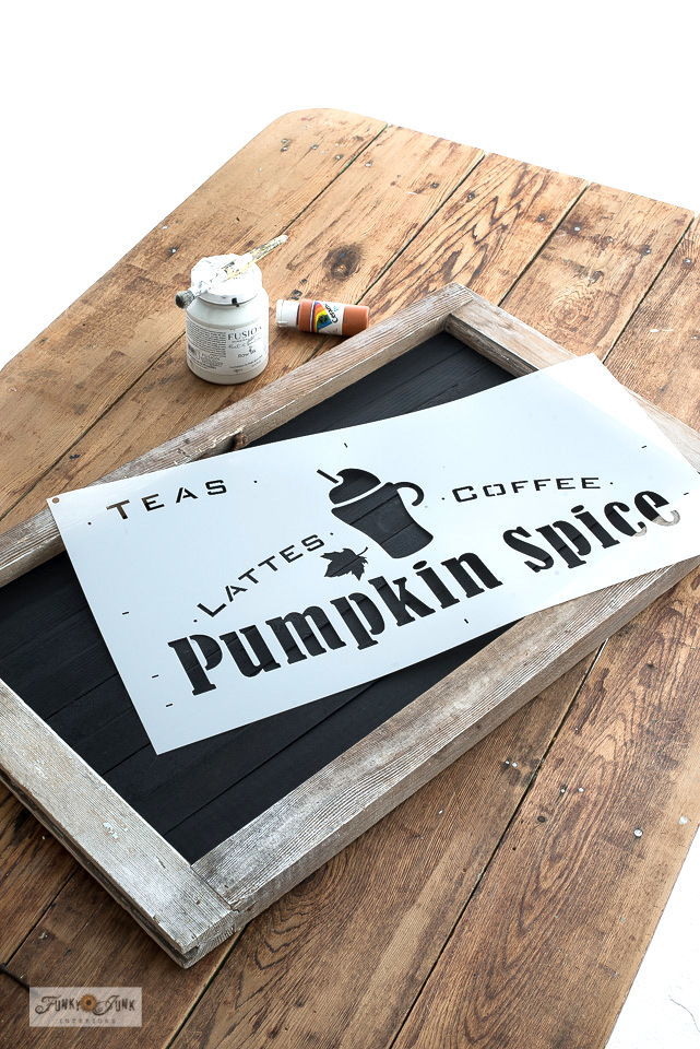 Learn how to create a stenciled Pumpkin Spice fall sign using an old vintage window frame and cedar strips! Perfect for fall decorating in a kitchen coffee station! Full tutorial.