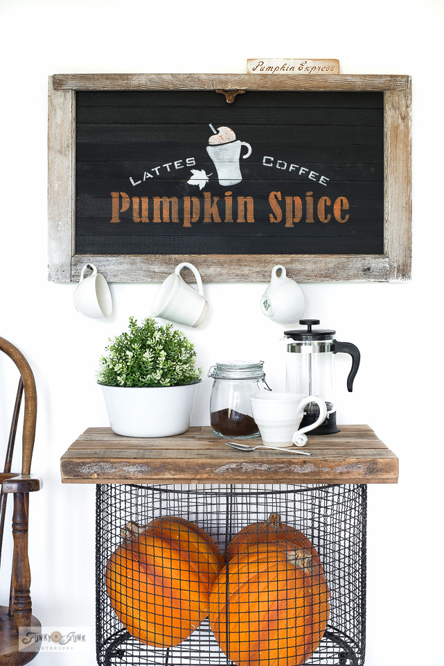 Stenciled Pumpkin Spice fall sign with a window by Funky Junk Interiors