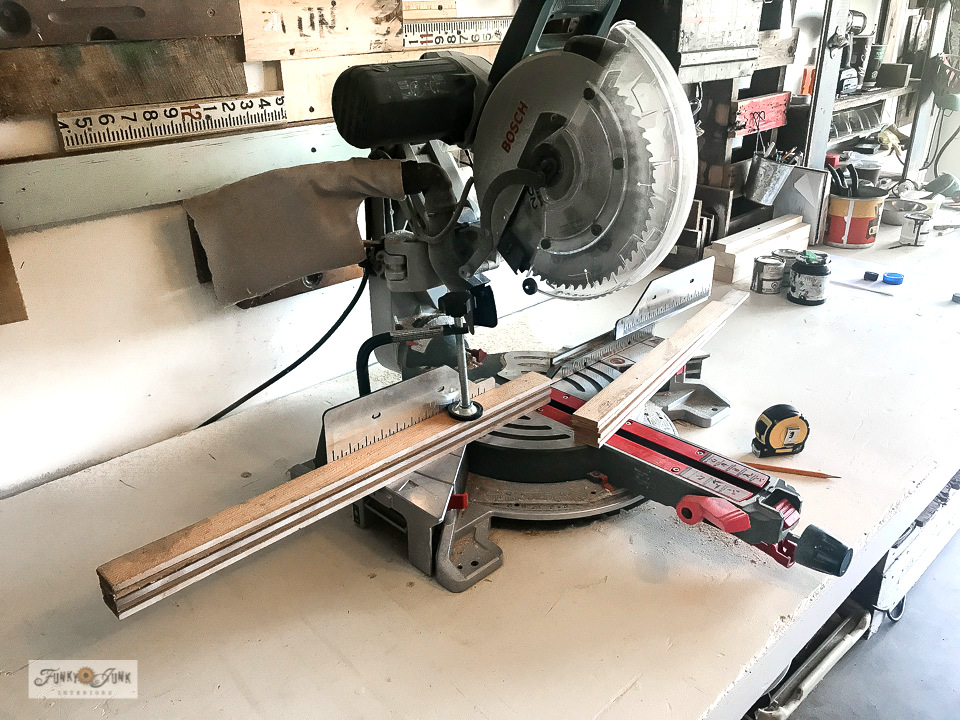 How to cut multiple cedar strips at once using a miter saw - for a Pumpkin Spice fall sign!