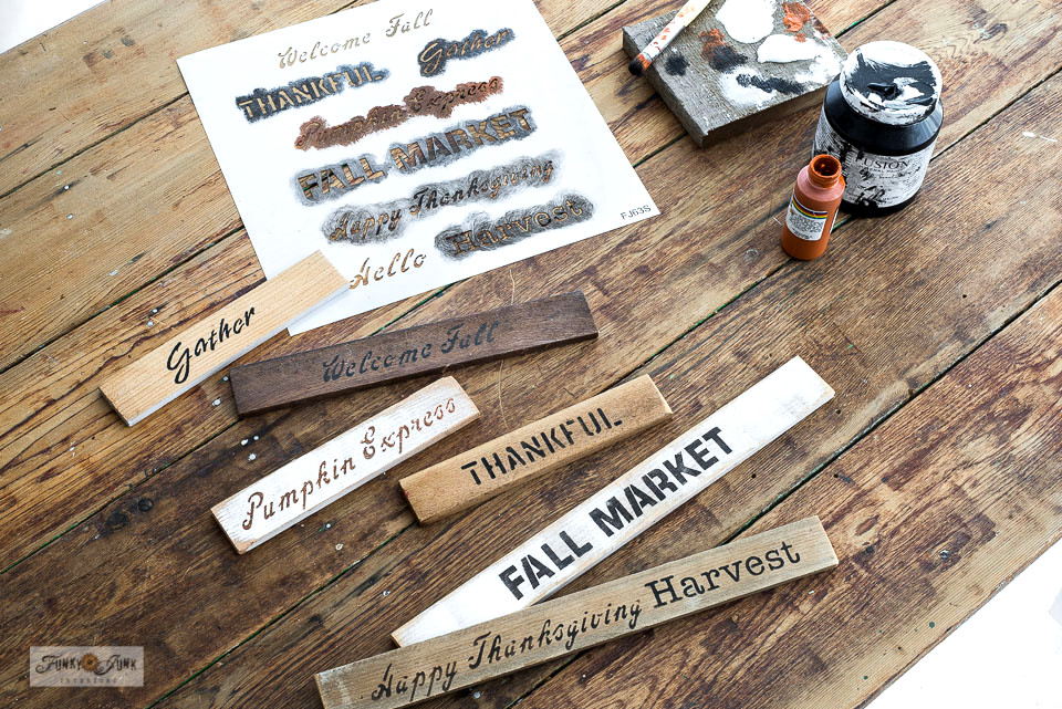 Mini fall signs with Fall Greetings - Small stencilLearn how to make mini fall signs with Fall Greetings - small stencil and cedar strips!