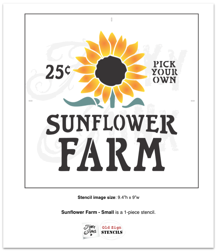 Sunflower Farm small fall stencil by Funky Junk's Old Sign Stencils