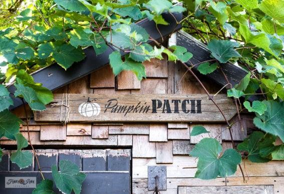 stenciled fall pumpkin patch sign