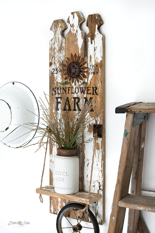 Picket fence Sunflower fall wood sign with shelf by Funky Junk Interiors
