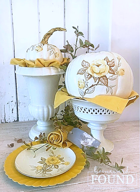Floral painted pumpkins by Homeward Found, featured on New Upcycled Projects to Make 594