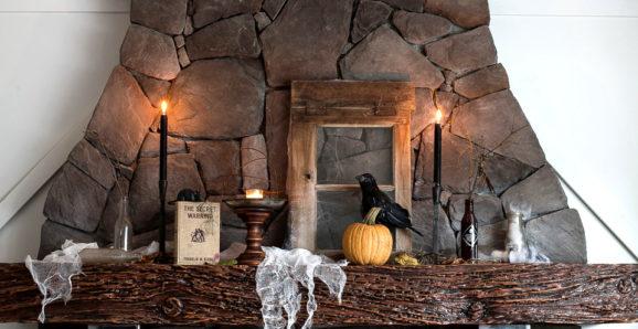 Halloween mantel for fall decor