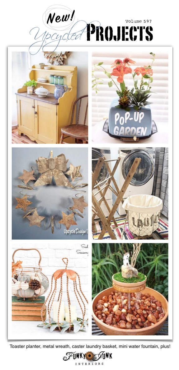 Visit 20+ New Upcycled Projects to Make 597 - Toaster planter, metal wreath, caster laundry basket, mini water fountain, plus! Read all new repurposed projects with complete tutorials HERE!