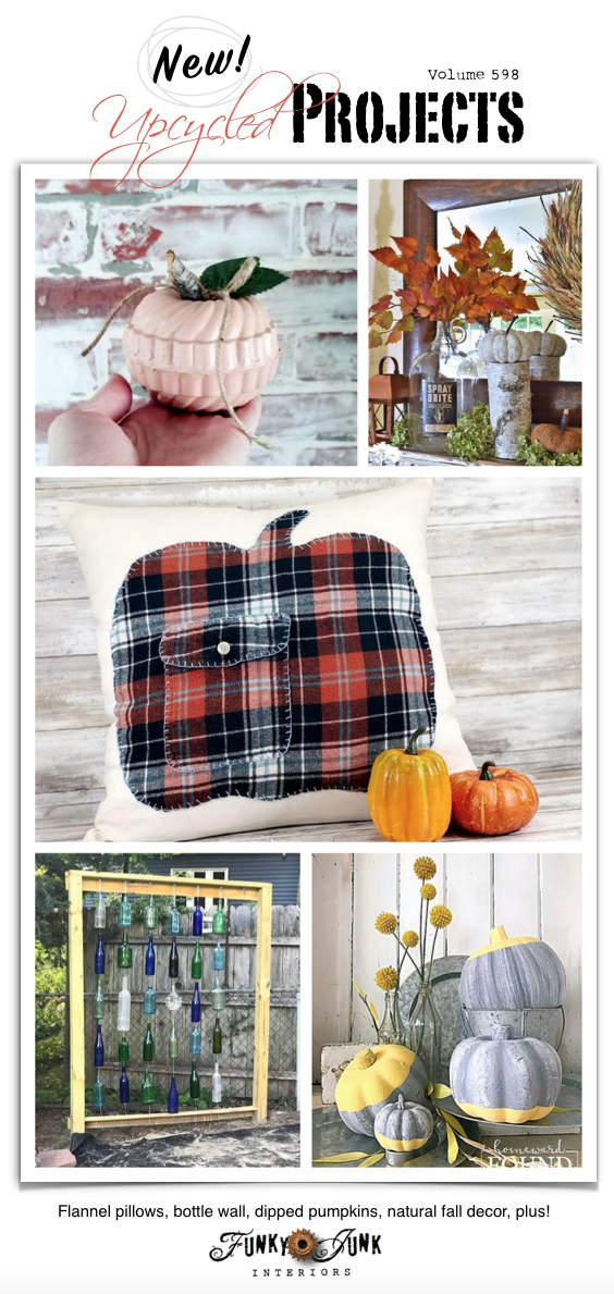 Visit 20+ New Upcycled Projects to Make 598 - Flannel pillows, bottle wall, dipped pumpkins, natural fall decor, plus! Make any of these repurposed fall projects by visiting their tutorials in this post!