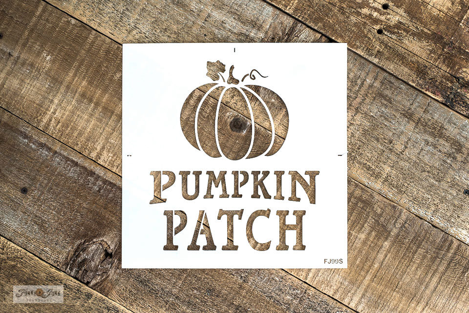 Pumpkin Patch fall stencil with Funky Junk's Old Sign Stencils