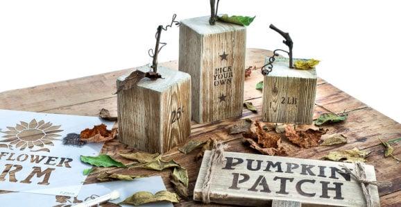 Wood pumpkins with Pumpkin Patch sign using fall stencils