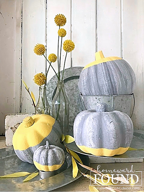 Dipped faux concrete pumpkins by Homeward Found Decor, featured on New Upcycled Projects to Make 598