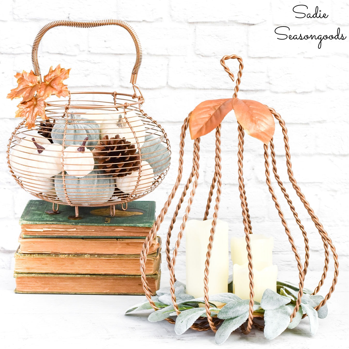 Metal pumpkin fall decor by Sadie Seasongoods, featured on New Upcycled Projects to Make 596