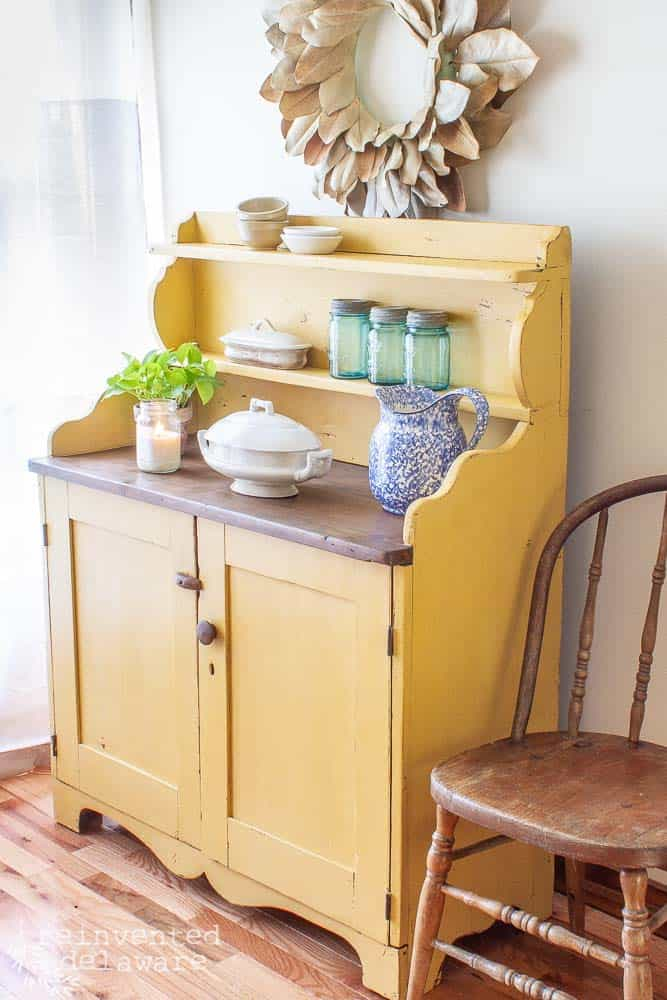 Milk painted antique pine cupboard makeover by Reinvented Delaware, featured on New Upcycled Projects to Make 596