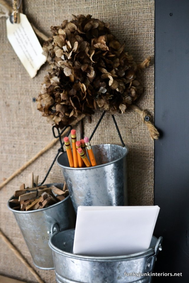 tin cup pencil holders from Ikea / Board burlap and twine bulletin board / funkyjunkinteriors.net
