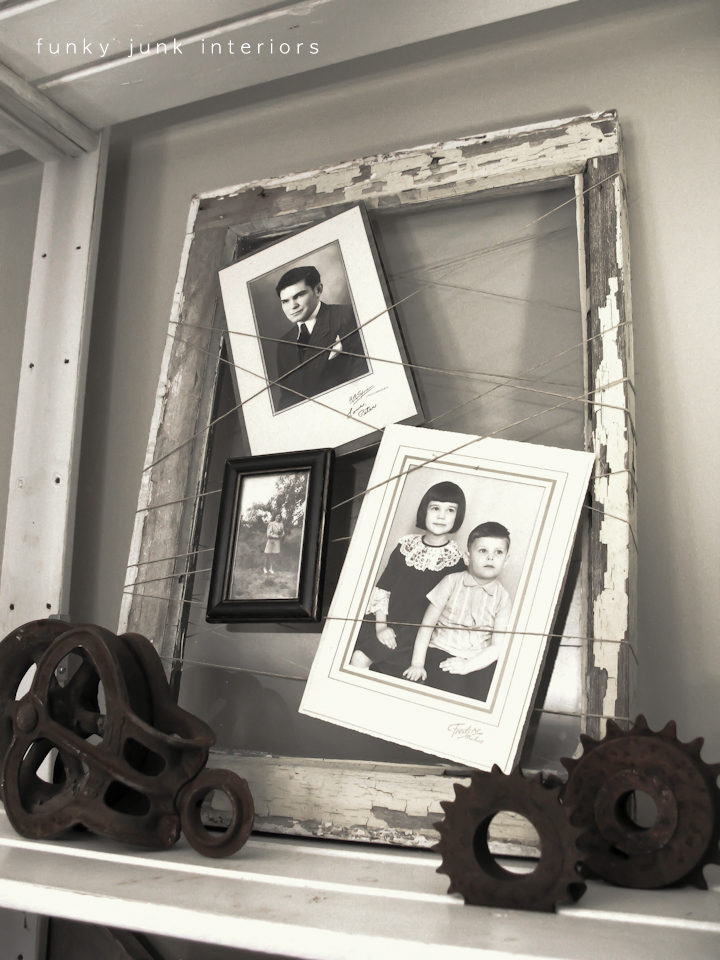 Old window and string picture frame by funkyjunkinteriors.net