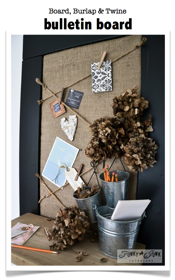 Burlap and twine bulletin board with a reclaimed wood shelf and chalkboard frame / funkyjunkinteriors.net