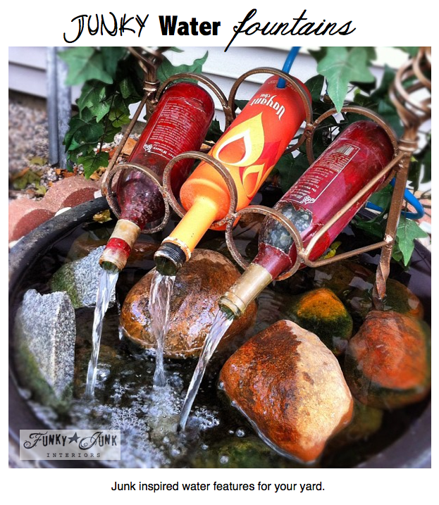 Make these up-cycled water fountains for the backyard! From wine bottles, sinks, galvanized tubs and more, here's how to make a few...
