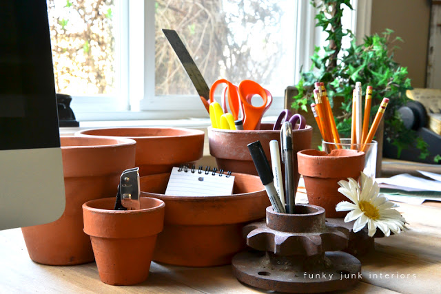 Office junk organizer of pots and gears via Funky Junk Interiors