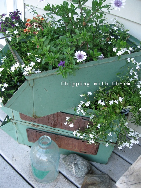 Toolbox junk garden planter by Chipping with Charm