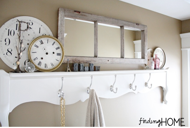 Old window turned gorgeous mirror, by Finding Home, featured on Funky Junk Interiors