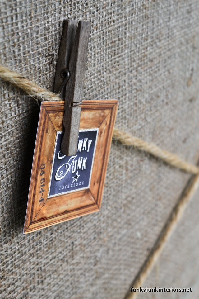 using clothes pins to clip notes to twine / Board burlap and twine bulletin board / funkyjunkinteriors.net