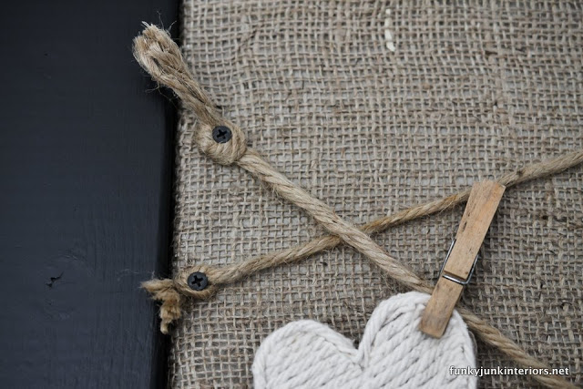 attaching twine with screws / Board burlap and twine bulletin board / funkyjunkinteriors.net