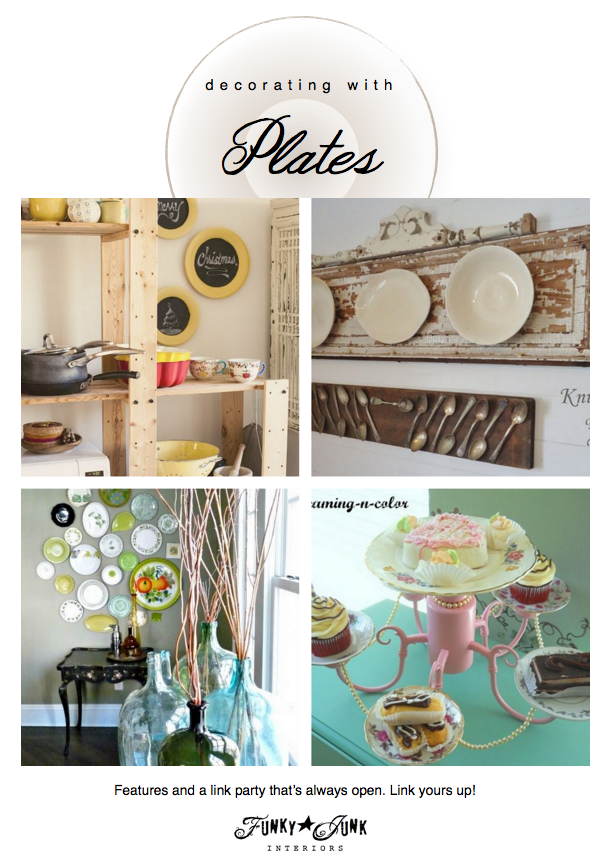 Decorating_with_Plates_features_and_link_party_via_Funky_Junk_Interiors
