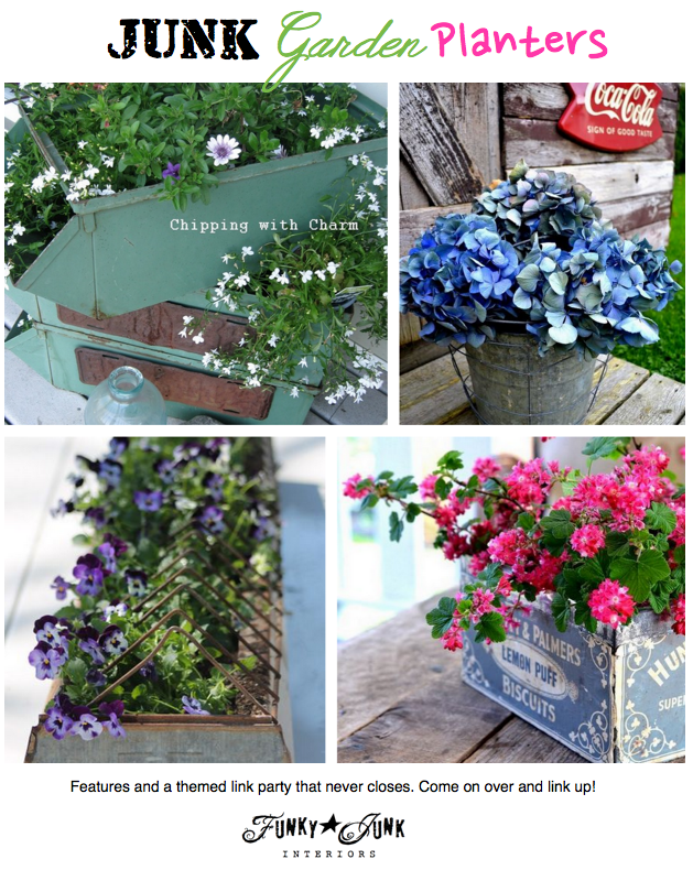 JUNK_Garden_Planters_a_themed_link_party_and_features_via_Funky_Junk_Interiors